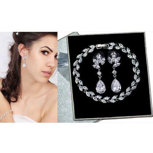 Mak-biżuteria Kpl702 komplet ślubny, biżuteria ślubna z cyrkoniami k686/10 b599/424