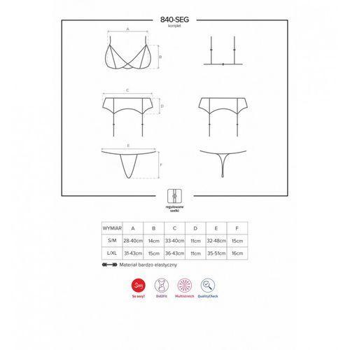 Komplet koronkami zdobiony – Obsessive 840-SEG-1 Set 3 części Black L/XL, 7066342 (8783382)