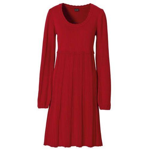 Sukienka dzianinowa ciemnoczerwony marki Bonprix