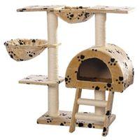 Vidaxl drapak dla kota 105 cm pluszowy beżowy z motywem łapek