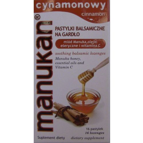 Tabletki Manukan Miód Manuka pastylki na gardło o smaku cynamonu 16 tabl.