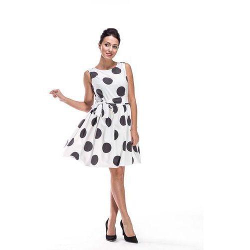 97b242dc7a Biało czarna sukienka rozkloszowana w duże grochy z dekoltem na plecach