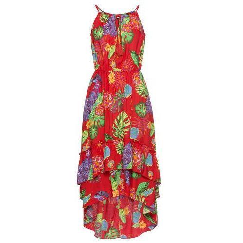 Sukienka z nadrukiem bonprix truskawkowy w kwiaty, kolor czerwony