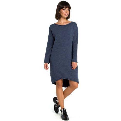 5621fa5356 Zobacz ofertę Niebieska Asymetryczna Swetrowa Sukienka z Dekoltem w Łódkę