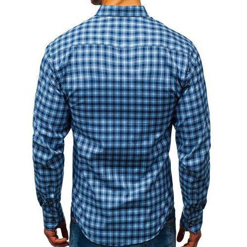 11dfeb0b74949 Koszula męska w kratę z długim rękawem niebieska 8834 (BOLF) - sklep ...