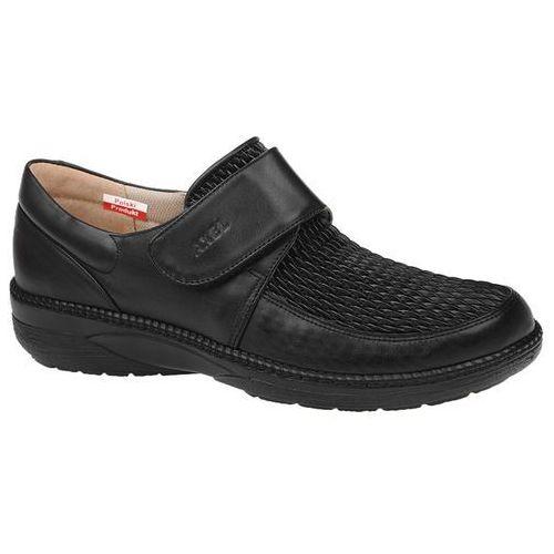Półbuty AXEL Comfort 1206 Czarne Elastico na rzepy Haluksy Tęgość H - Czarny, kolor czarny