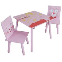Kidsaw  stół i dwa krzesła - seria sowa & kotek