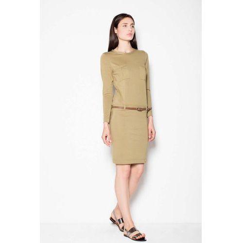 48c7e4630f Oliwkowa sukienka prosta ze skórzanym paskiem