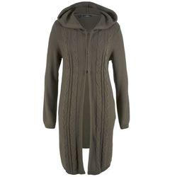 Bonprix Długi sweter rozpinany z kapturem ciemnooliwkowy