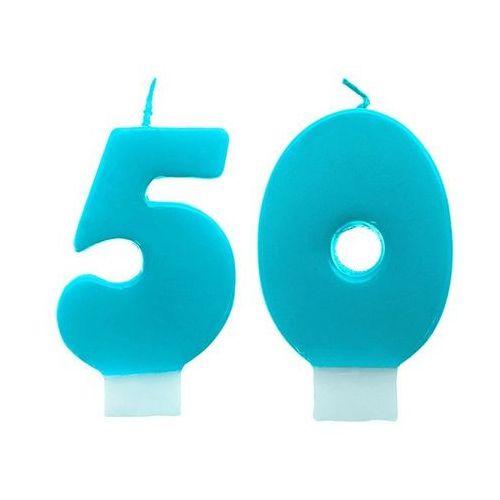 Świeczki cyferki turkusowe - 50 - pięćdziesiątka - 2 szt. Ap