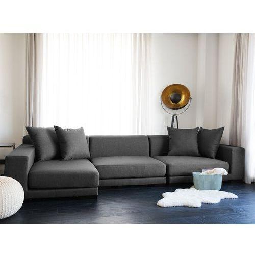 Sofa narożna P - ciemnoszara - tapicerowana - narożnik - CLOUD (7081459817046)