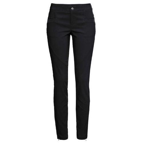 Elastyczne spodnie żakardowe czarno-szary w jodełkę marki Bonprix