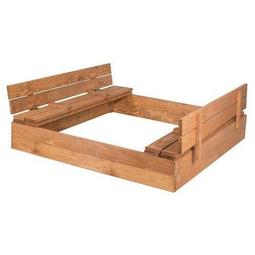 Springos Piaskownica zamykana drewniana 140x140cm impregnowana (5909230000345)