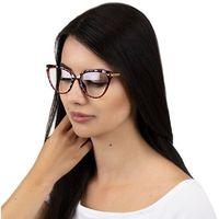 Okulary damskie zerówki czerwone złote kocie oko