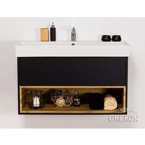 Nowość Czarna matowa szafka łazienkowa z umywalką 100/43 space (Gante HX37
