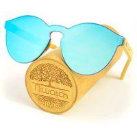 Drewniane okulary przeciwsłoneczne Niwatch Cassiopeia Blue Mirror