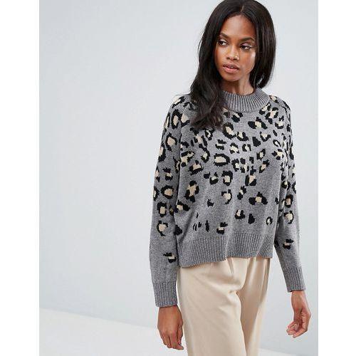 H.One Leopard Knit Wool Blend Jumper - Grey, kolor szary