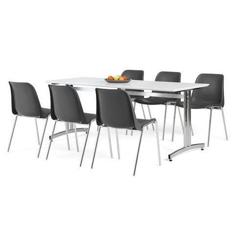 Aj produkty Zestaw mebli do jadalni, stół 1800x700 mm, biały + 6 krzeseł, czarny/chrom