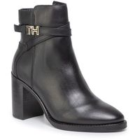 Botki TOMMY HILFIGER - Th Hardware Leather High Bootie FW0FW04284 Black 990