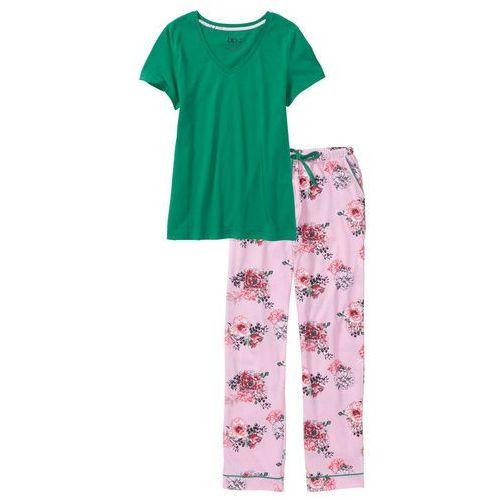 4dcee36c793f01 Piżama bonprix zielony miętowy - jasnoróżowy kryształowy z nadrukiem,  bawełna