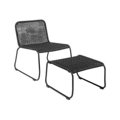 Fotel ogrodowy z podnóżkiem, czarny - marki Bloomingville