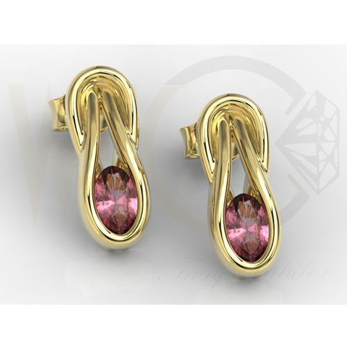 Kolczyki z żółtego złota z rubinami BPK-69Z - Rubin, kolor czerwony