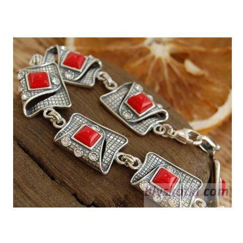 MYSTIC - srebrna bransoletka koral z kryształkami, kolor czerwony