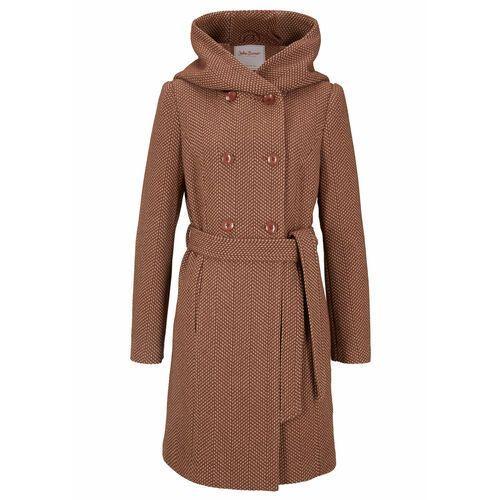 Krótki płaszcz z domieszką wełny bonprix brązowo-beżowy, w 2 rozmiarach