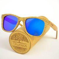 Drewniane okulary przeciwsłoneczne Niwatch Gemini Blue Mirror