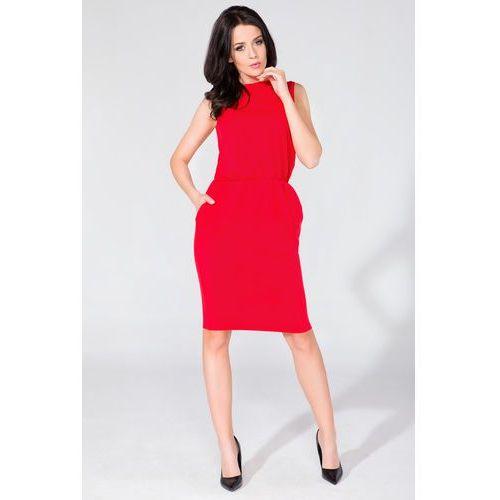 ddcfac46f9 Letnia bawełniana sukienka midi bez rękawów czerwona t132 (Tessita ...