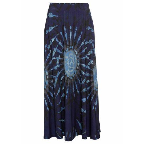 Spódnica shirtowa w batikowy wzór bonprix kobaltowo-pudrowy niebieski - niebieski dżins - dymny niebieski - ciemnoniebieski z nadrukiem