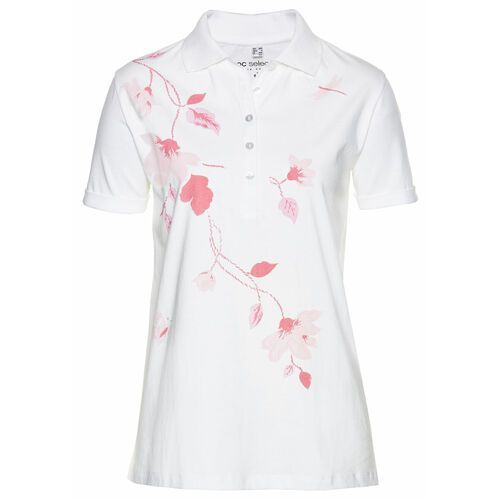 Shirt polo bonprix biało-pastelowy jasnoróżowy z nadrukiem, kolor biały