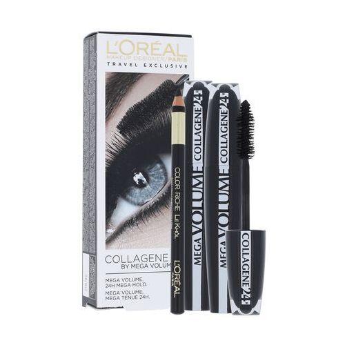Mega volume collagene 24h zestaw 2x9 ml 2x 9ml mascara mega volume collagene 24h + 2g eye contour khol black dla kobiet L´oréal paris - Genialny upust