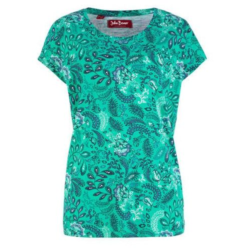 Shirt bawełniany z nadrukiem, krótki rękaw zielono-niebieski z nadrukiem, Bonprix, 32-50