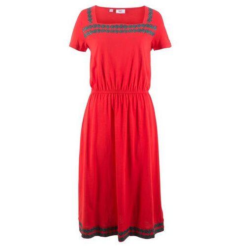 Sukienka shirtowa z rękawem 1/2 bonprix truskawkowy, kolor czerwony
