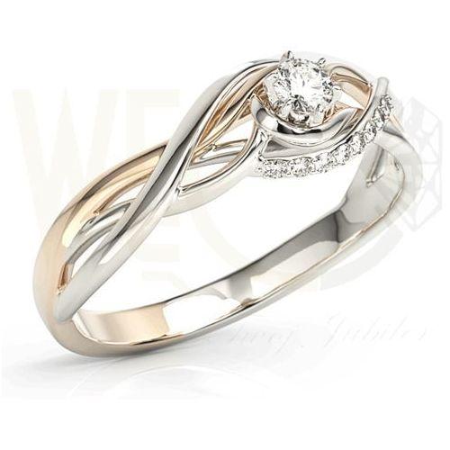 Pierścionek z białego i różowego złota z brylantami bp-71bp - białe i różowe \ diament marki Węc - twój jubiler