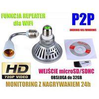 Kamera HD WiFi/P2P Ukryta w Żarówce (zasięg cały świat!) + Zapis itd.