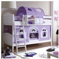Ticaa kindermöbel Ticaa łóżko piętrowe erni country dworek białe drewno sosnowe kolor fioletowo-biały