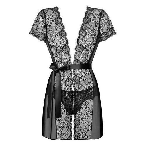 Koronkowy szlafroczek – Obsessive Alluria Peignoir & Thong Black S/M, kolor czarny