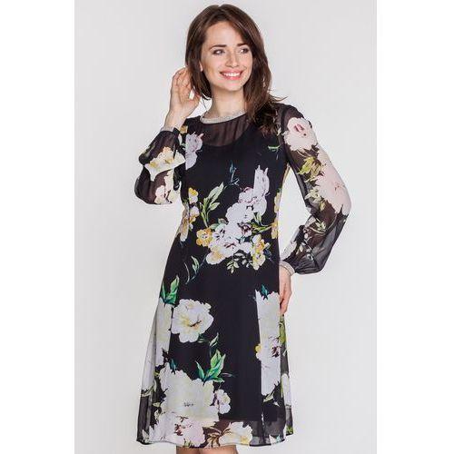 5afc87d06f Czarna sukienka z szyfonu w kwiaty - Paola Collection