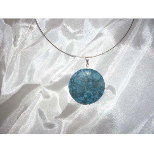 N-00016 Naszyjnik z fossilu oceanicznego, turkusowego, kolor niebieski