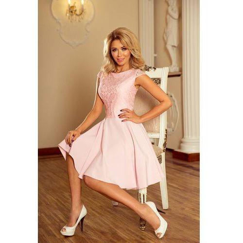 Różowa sukienka elegancka rozkloszowana z koronką Numoco