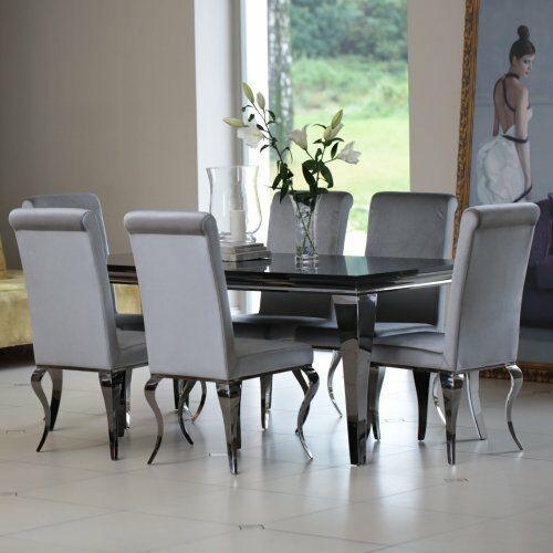 Jadalnia glamour velluto grigio - szary aksamit marki Bellacasa