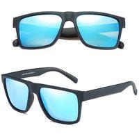 Okulary przeciwsłoneczne polaryzacyjne męskie blue - matte black/blue mirror