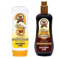Australian Gold SPF 30 Lotion and Accelerator Spray Gel | Zestaw do opalania: balsam do opalania 237ml + spray przyspieszający opalanie 237ml