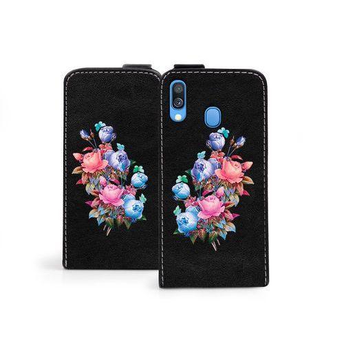 Samsung Galaxy A40 - etui na telefon Flip Fantastic - bukiet róż, kolor różowy
