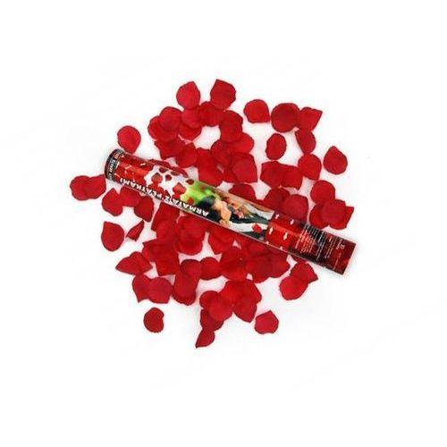 Tuba strzelająca, bordowe sztuczne płatki róż, 40cm, 4 szt.
