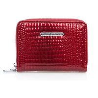 Mały portfel damski, skóra naturalna lakierowana, czerwony