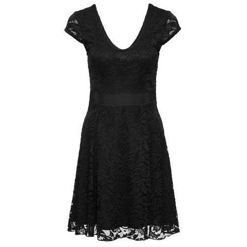 Sukienka z dżerseju z koronką bonprix czarny, w 2 rozmiarach