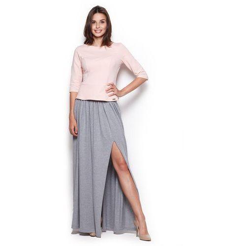 Szara Długa Spódnica Maxi z Rozporkiem, kolor szary